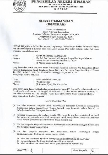 Surat Perjanjian Kontrak Penataaan Halaman Kantor Dan